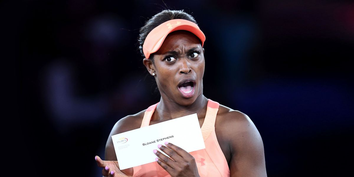 Sloane Stephens' astonished face when she received her winner's checkout the 2017 US Open