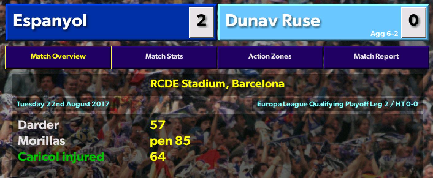 Espanyol vsDunav Ruse (Europa League Qualifying Playoff 2nd Leg)