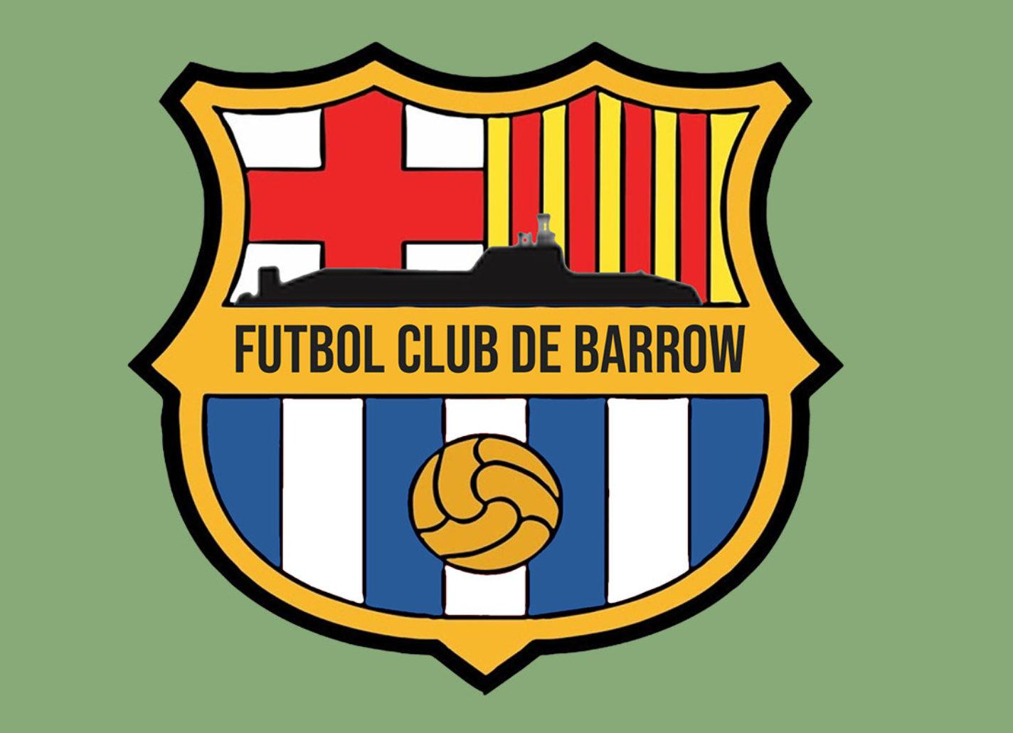 A Barcelona crest that says Futbol Club de Barrow which has become Barrowcelona