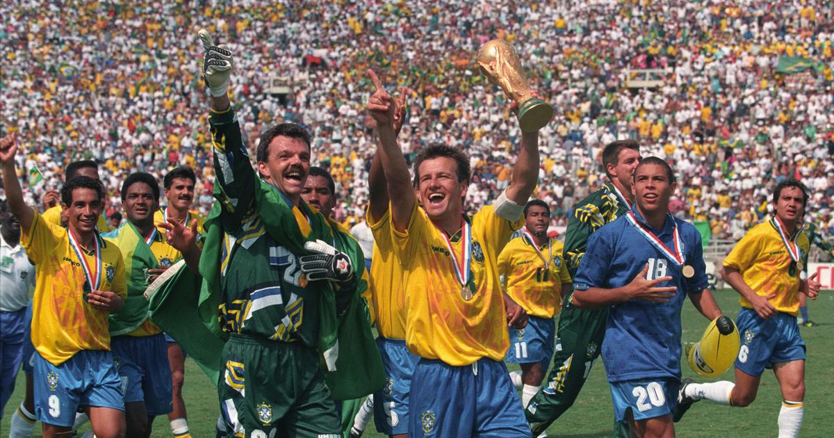Brazil with the World Cup trophy in 1994