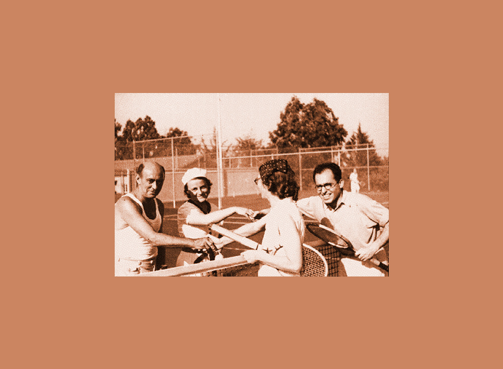 arnold schoenberg and george gershwin at the net with two women on a tennis court