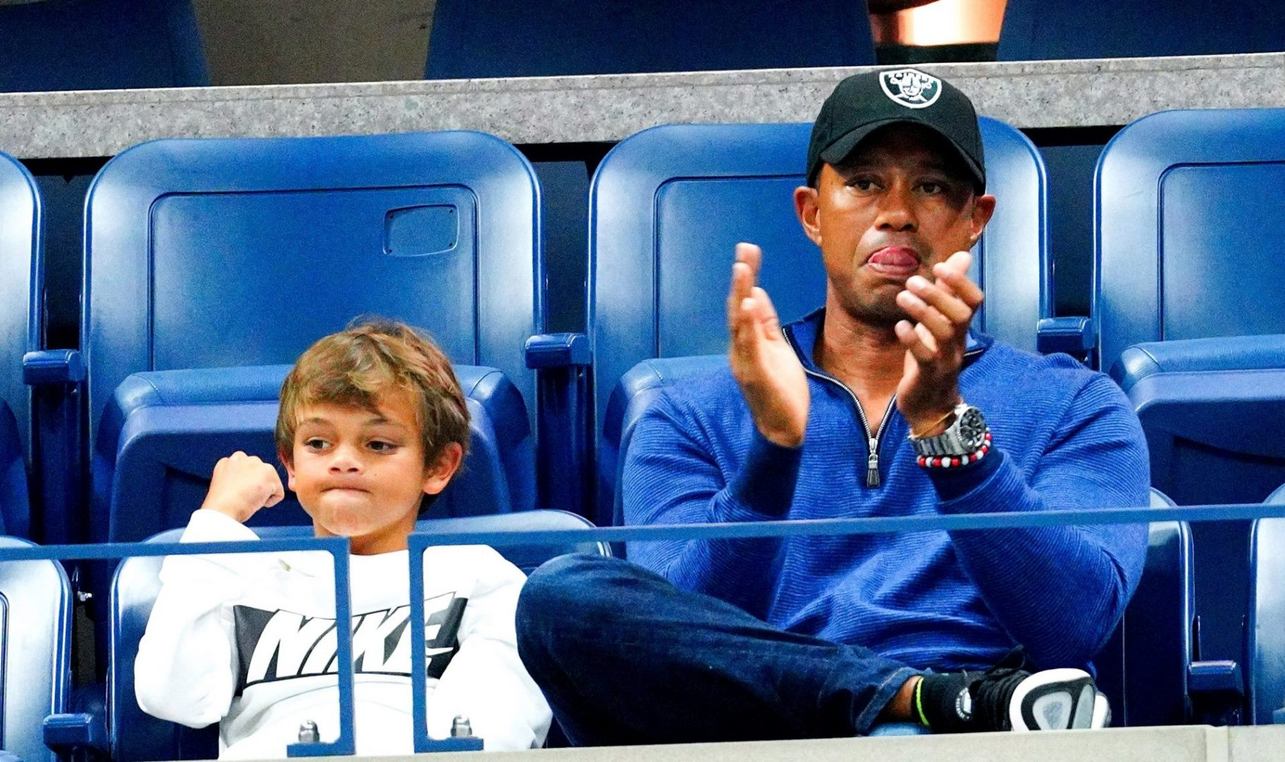 Tiger Woods with his son, Charlie