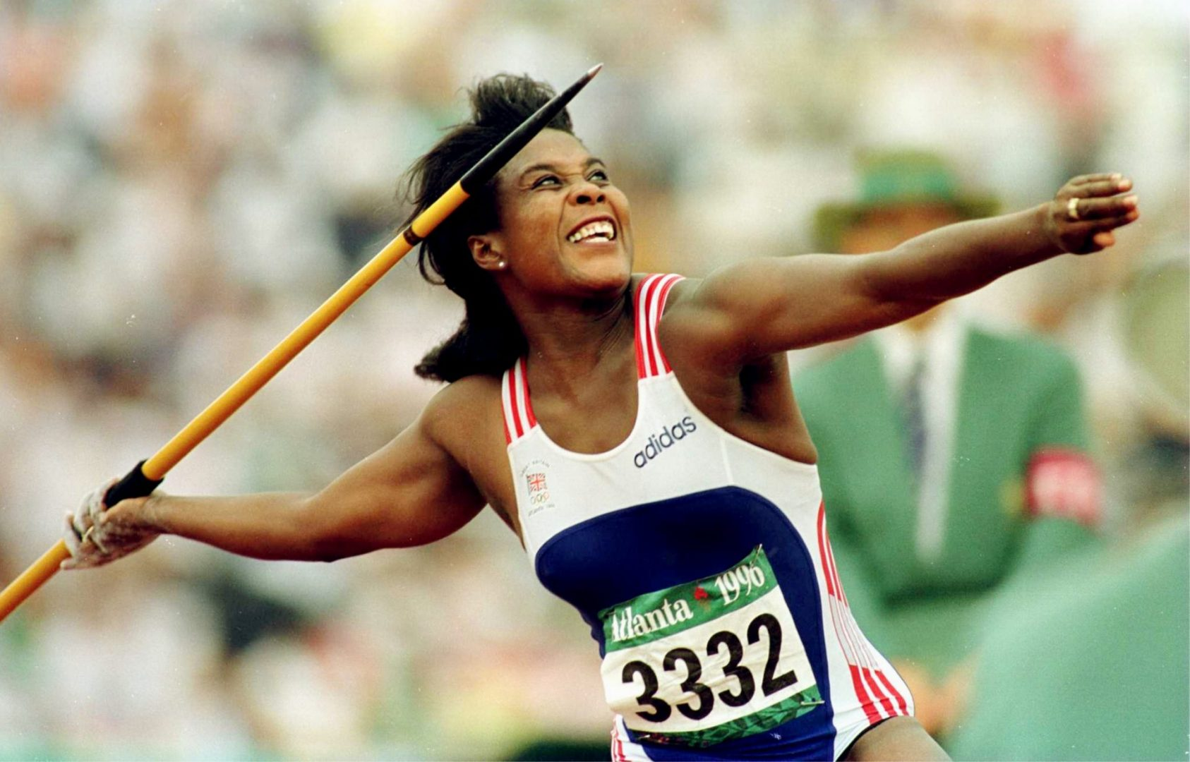 Tessa Sanderson of Great Britain rears back for a throw during the women''s javelin qualifying at Olympic Stadium at the 1996 centennial Olympic Games in Atlanta, Georgia.