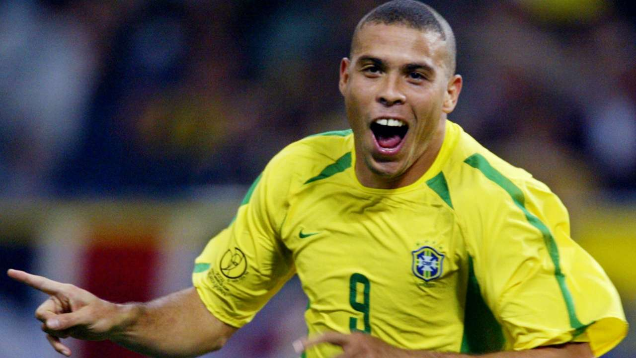Ronaldo's celebrating a goal at the 2002 World Cup